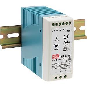 Schaltnetzteil, Hutschiene, 60 W, 24 V, 2,5 A MEANWELL DRA-60-24
