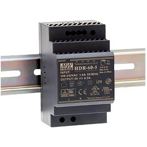 Schaltnetzteil, Hutschiene, 32,5 W, 5 V, 6,5 A MEANWELL HDR 60-5