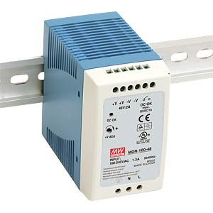 Switching Power Supplies, DIN, 96 W, 48 VDC, 2 A MEANWELL MDR-100-48
