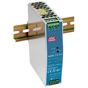 Power supply DIN rail 24 V, 3.2 A MEANWELL NDR-75-24