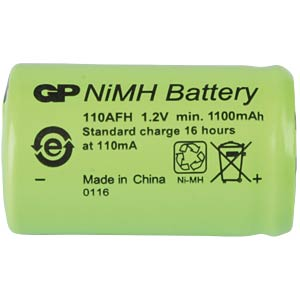 NiMh industrial cell from GP, 1.2 V, 2/3AF, 1100 mAh, 17.0 x 28. GP-BATTERIES 301.110AFH-C1