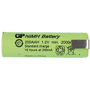 NiMH industrial cell from GP, solder tail, 2000mAh GP-BATTERIES 200AAM1A1P
