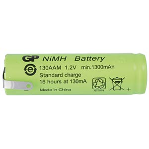 NiMh industrial cell from GP, solder lug, 1300 mAh GP-BATTERIES