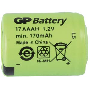 NiMh industrial cell from GP, 1.2 V, 1/3AAA 170 mAH, 10.2 x 14.1 GP-BATTERIES 301.17AAAH-C1