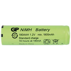 NiMh industrial cell from GP, 1.2 V, AA, 1800 mAh, 14.5 x 49.2 GP-BATTERIES 301.180AAH-C1