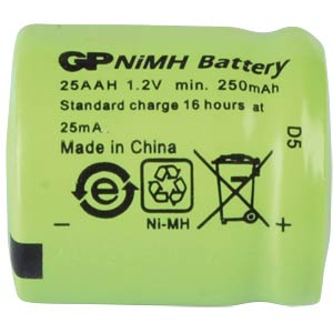 NiMh-Industriezelle, GP, 1,2V, 1/3AA, 250mAh GP-BATTERIES 30125AAH-C1
