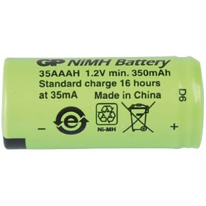 NiMh industrial cell from GP, 1.2V, 1/2 AAA, 345mAH, 10.4 x 22 GP-BATTERIES 301.35AAAH