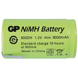 NiMh-Industriezelle von GP, Lötfahne, 9000mAh GP-BATTERIES