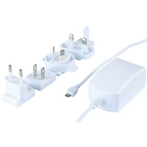 MicroUSB power supply unit, white, 5.1 V DC, 2500 mA RASPBERRY PI T5875DV