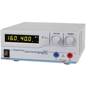 Digital laboratory switching power supply, 1 - 16 V/0 - 40 A, US PEAKTECH 1565