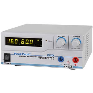 Digital laboratory switching power supply, 1 - 16 V/0 - 60 A, US PEAKTECH 1570