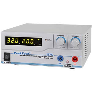 Digital laboratory switching power supply, 1 - 32 V/0 - 20 A, US PEAKTECH 1575