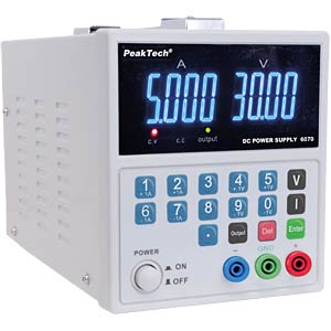 Laboratory power supply 0 - 30 V DC/0 - 5 A DC PEAKTECH P 6070