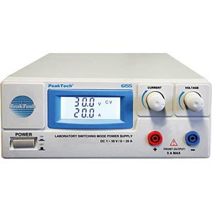 Laboratory power supply, 1 - 30 V DC, 0 - 20 A PEAKTECH P 6155