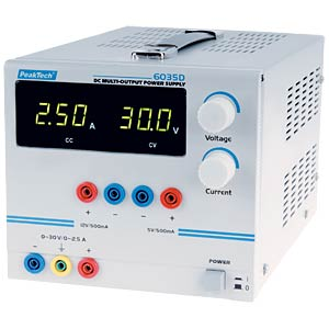 Stabilised laboratory power supply unit, digital display PEAKTECH P 6035 D