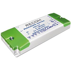 LED-Trafo, 20 W, 6 - 40 V DC, 500 mA RECOM 21000127