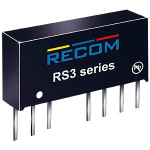 DC/DC-Wandler RS3, 3 W, 12 V, 250 mA, SIL-8, Single RECOM 10004207