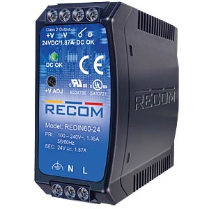 DIN-Rail Power Supply, 12 V, 5 A RECOM 21000210
