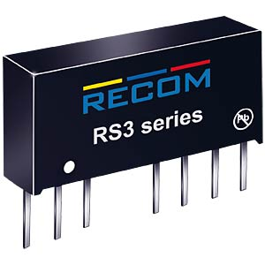 DC/DC-Wandler RS3, 3 W, 12 V, 250 mA, SIL-8, Single RECOM 10004103