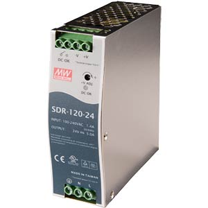 Switching power supply, DIN mounting, 120 W / 24 V / 5 A MEANWELL SDR-120-24