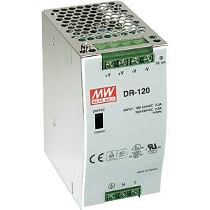 Switching power supply, DIN mounting, 12 V / 6.3 A / 75 W MEANWELL DR-75-12