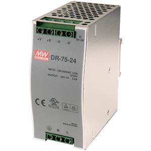 Switching power supply, DIN mounting, 24 V / 3.2 A / 75 W MEANWELL DR-75-24
