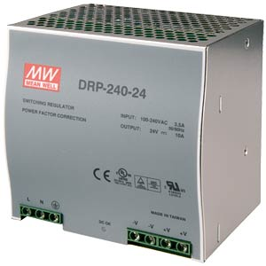 Switching power supply, DIN mounting, 24 V / 10.0 A / 240 W MEANWELL DRP-240-24