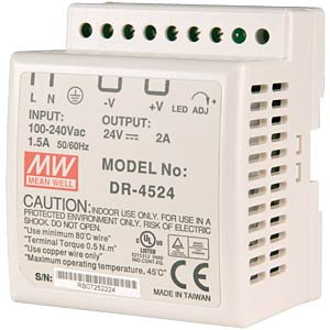 Switching power supply, DIN mounting, 24 V / 2.0 A / 45 W MEANWELL DR-45-24