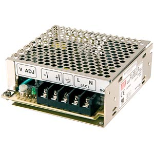 Switching power supply, closed, 15 V / 1.7 A / 25 W MEANWELL S-25-15