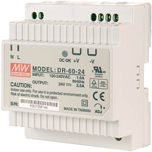 Switching power supply, closed, 24 V / 2.5 A / 60 W MEANWELL DR-60-24