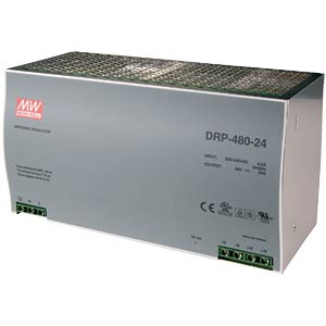 Switching power supply, closed, 24 V / 20 A / 480 W MEANWELL DRP-480-24