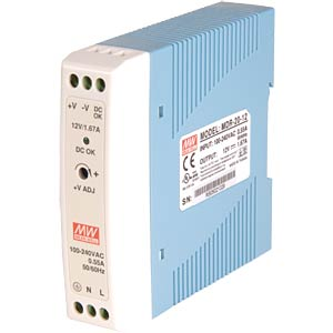 Switching power supply, closed, 12 V / 1.6 A / 20 W MEANWELL MDR-20-12