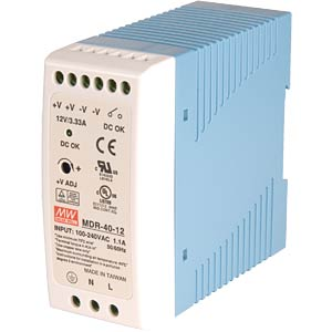 Switching power supply, closed, 48 V / 0.8 A / 40 W MEANWELL MDR-40-48
