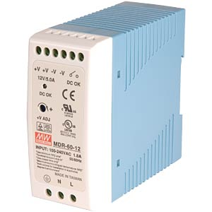 Switching power supply, closed, 12 V / 5.0 A / 60 W MEANWELL MDR-60-12