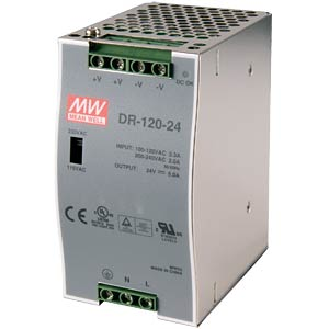 Switching power supply, DIN mounting, 24 V / 5 A / 120 W MEANWELL DR-120-24