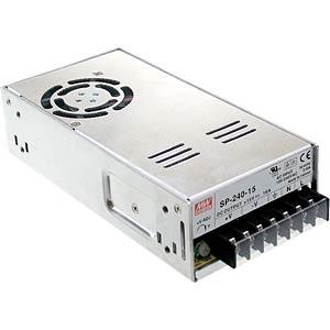 Switching power supply, PFC, 75 W, 15 V/16 A MEANWELL SP-240-15