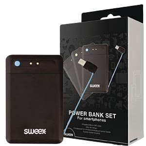 Power bank set with charging pad with micro-USB cable SWEEX SW5000PB002U