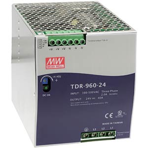 Switching power supply, DIN mounting, 3P, 960 W / 48 V / 20 A MEANWELL TDR-960-48