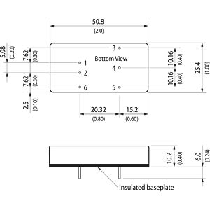 DC/DC converter, TEN 20WIN series, 24/±5 V DC TRACO TEN 20-2421WIN