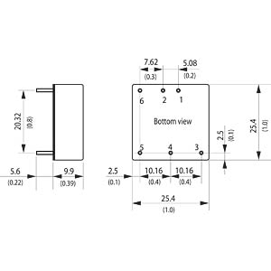 DC/DC converter, THN 15WI series, 9-36 / 15 VDC TRACO THN 15-2413WI
