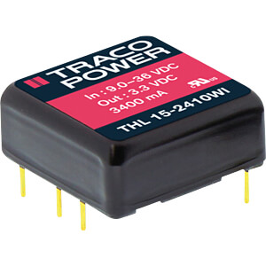 DC/DC-Wandler THL 15WI, 15 W, 9-36/±12,0 VDC, DIL TRACO THL 15-2422WI