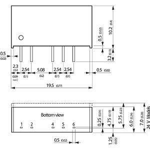 DC/DC-Wandler TMA, 1 W, 5 V, 100 mA, SIL-7 TRACO TMA 1205D
