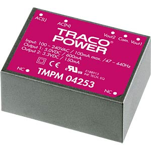 Switching power supply, module, TMPM series, 12 V DC/0.3 A TRACO TMPM 04112