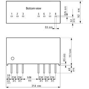 DC/DC converter, TMR-3 series, 9 - 18/3.3VDC TRACO TMR 3-1210