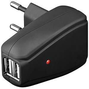 USB charging adapter 230 V, 2x USB, 500 mA FREI