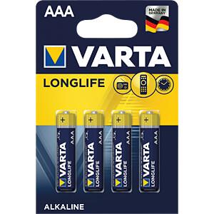 Longlife Extra, Alkaline Batterie, AAA (Micro), 4er-Pack VARTA 4103