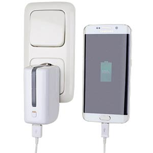 USB charger with power bank function, white D-PARTS 210884