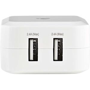 USB-Ladegerät, 5 V, 4800 mA, weiß, 2-Port NEDIS WCHAU484AWT