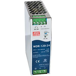 Switching power supply, DIN rail, 120 W, 48 V/2.5 A MEANWELL WDR-120-48