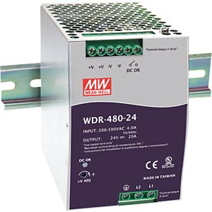 Switching power supply, DIN rail, 480 W, 24 V/20 A MEANWELL WDR-480-24